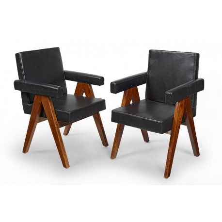 "Pierre JEANNERET. Armchair known as ""Committee chair"" in solid teak and leather"