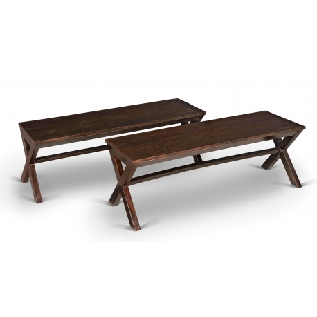 Pierre JEANNERET. Bench in solid sissoo (Indian rosewood).