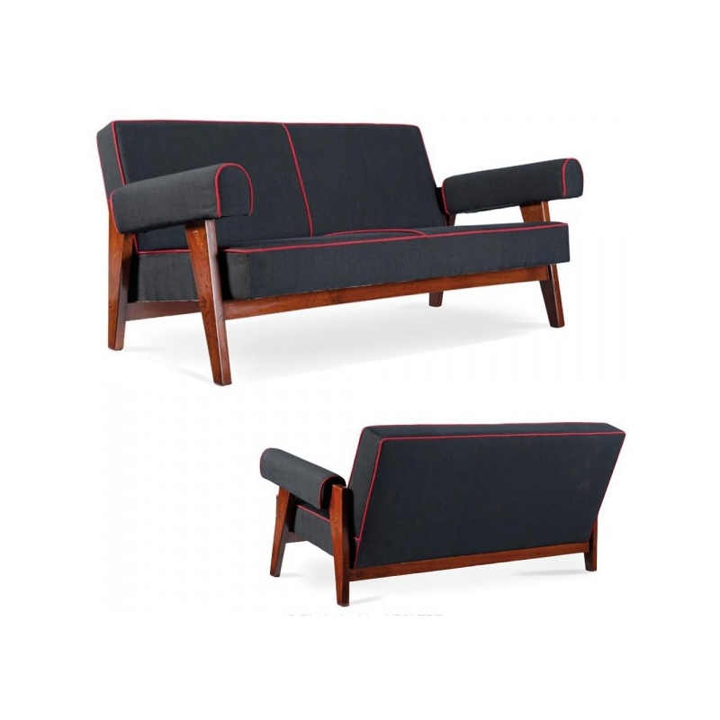 le corbusier et pierre jeanneret canap en teck et toile de coton. Black Bedroom Furniture Sets. Home Design Ideas