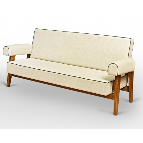 LE CORBUSIER and Pierre JEANNERET. Sofa in solid teak and cotton cloth.