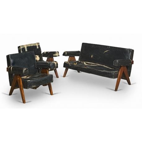 "Pierre JEANNERET. Mobilier de salon dit ""Upholstored sofa easy chair"" en teck massif et moleskine."