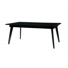 Pierre JEANNERET. Large black lacquered dining table in solid teak and teak veneer.