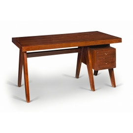 Pierre JEANNERET. Executive desk in solid teak and teak veneer.