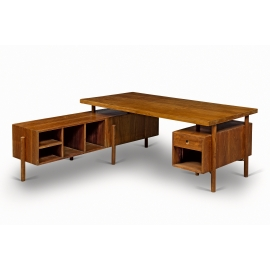 Pierre JEANNERET. Collapsible executive desk in solid teak and teak veneer.