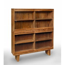 Teak glass-fronted bookcase