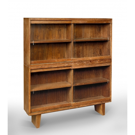 Pierre JEANNERET. Glass-fronted bookcase.