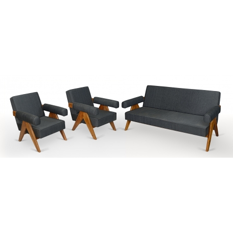 """Pierre JEANNERET. Lounge furniture known as """"Upholstered sofa easy chair"""" in solid teak and imitation leather."""