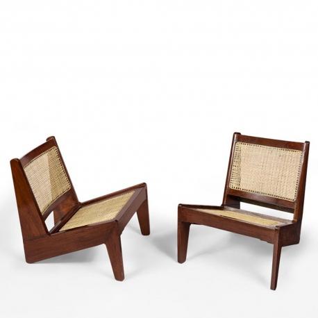 "Pierre JEANNERET. ""Kangourou"" low chair in solid sissoo"