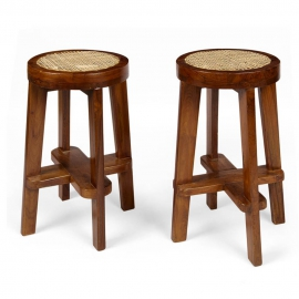 Pierre JEANNERET. Round high stool in solid teak and braided canework.