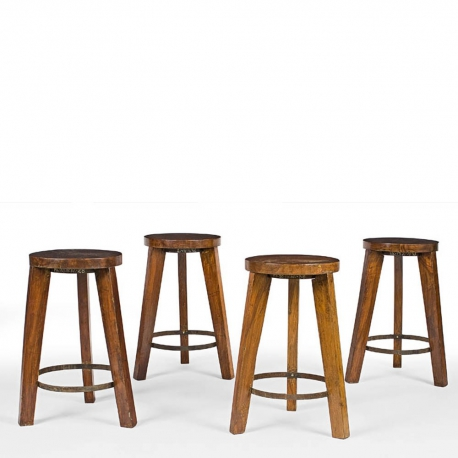 Pierre JEANNERET. Round stool in solid teak and iron.
