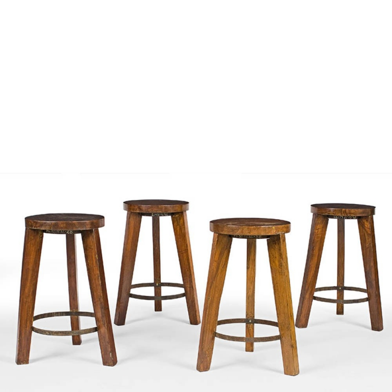 Le Corbusier - Round stool in teak by Pierre Jeanneret