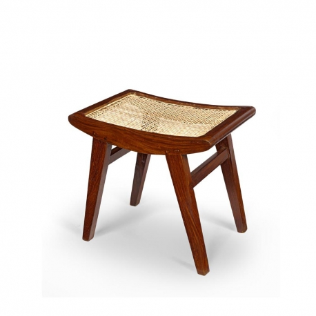 Pierre JEANNERET. Low stool in solid teak and braided canework.