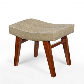 Pierre JEANNERET. Low stool in solid teak and upholstery.