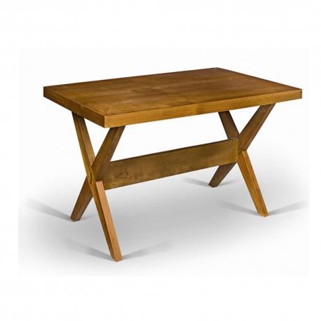 Pierre JEANNERET. Table en teck massif et placage de teck.