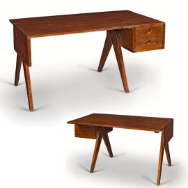 Pierre JEANNERET. Desk in solid teak.