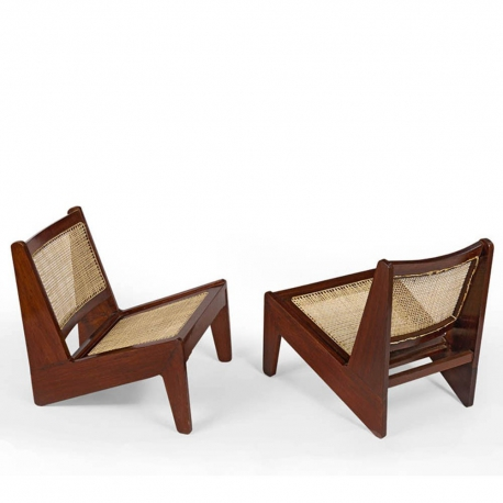 """Pierre JEANNERET. Low chair known as """"kangourou"""" in solid sissoo"""