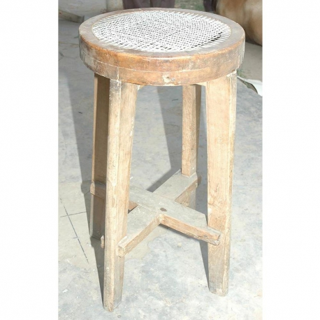 Pierre JEANNERET. Round high stool. In solid teak and braided canework.