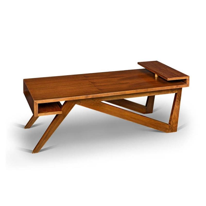 table basse en teck - chandigarh design
