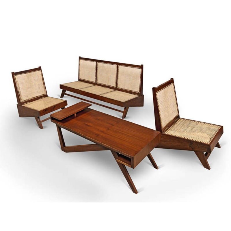 Le corbusier teak lounge furniture by pierre jeanneret