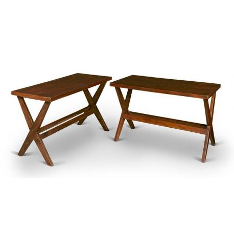 Pierre JEANNERET. Paire de tables consoles.