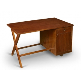 Pierre JEANNERET. Administrative desk in solid teak.