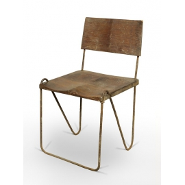 Teak and iron chair