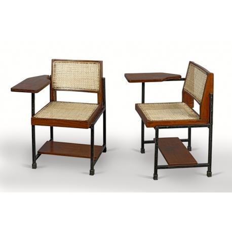 Pierre JEANNERET. Chaise écritoire en teck.