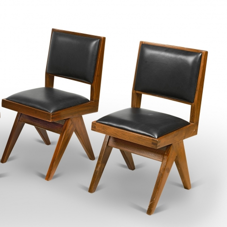 Pierre JEANNERET. Teak chair.