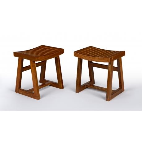Pierre JEANNERET. Teak stool.