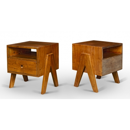"Pierre JEANNERET. Table known as ""bedside table"" in solid teak."