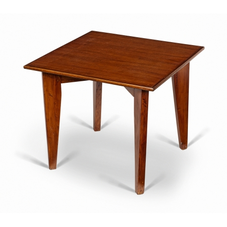 Pierre JEANNERET. Lounge table in solid teak.