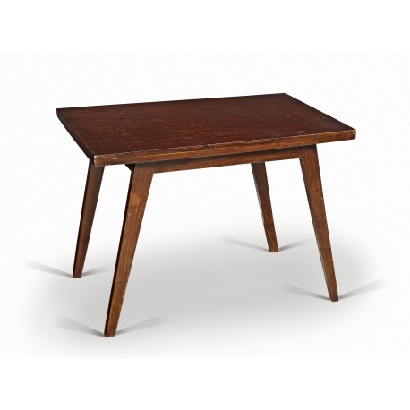 Pierre JEANNERET. Low table in solid teak and teak veneer.