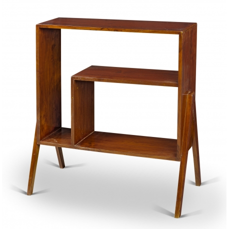 Pierre JEANNERET. Low cupboard double face in solid teak.