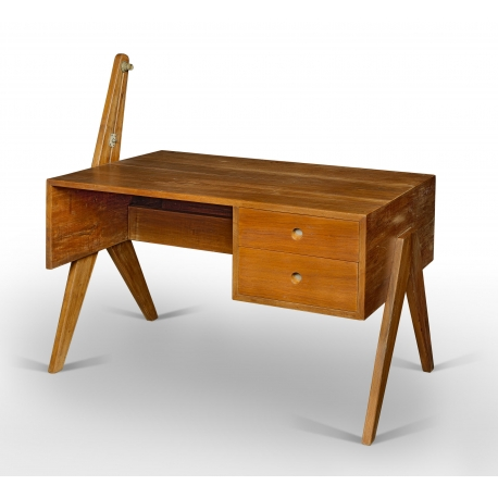 "Pierre JEANNERET. Solid teak desk. Rectangular top on asymmetric, ""compass""-type, lateral double legs."