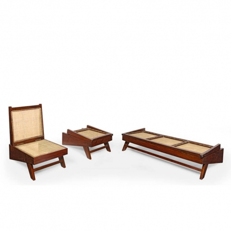 Pierre JEANNERET. Lounge furniture set in solid teak and braided canework.