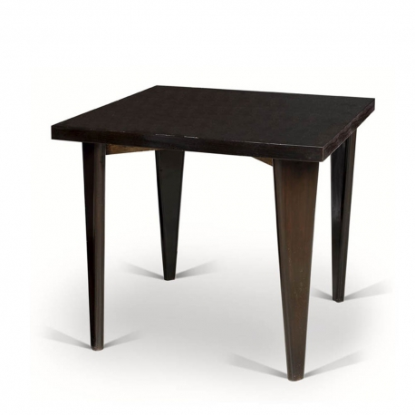 "Pierre JEANNERET. Table in solid teak and black lacquered teak veneer known as ""Square table"""