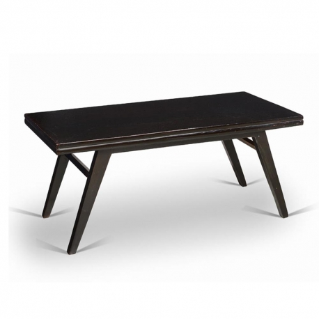 Pierre JEANNERET. Black lacquered lounge table in solid teak and teak veneer.