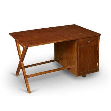 Pierre JEANNERET. Administrative desk in solid teak.