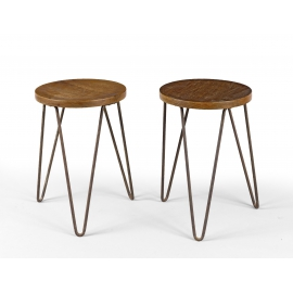 Teak and iron stool